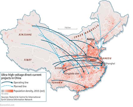 Abbildung 1: Chinas HGÜ-Projekte (durchgezogene Pfeile: in Betrieb, gestrichelte Pfeile: in Plannung) (Quelle: Economist)