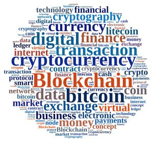Illustration with word cloud with the word Blockchain