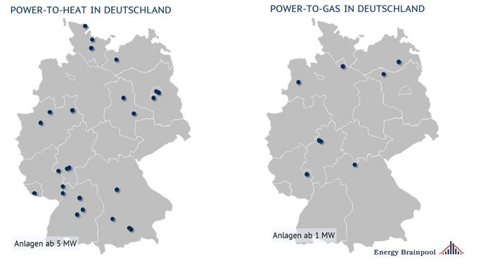 Standorte von PtH- und PtG-Anlagen in Deutschland (Stand Dez 2017), Quelle: Energy Brainpool