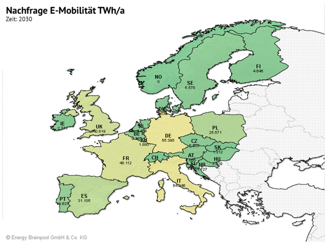 Zusätzliche Stromnachfrage bei Hochlauf der E-Mobilität in europäischen Ländern (Quelle: Energy Brainpool)