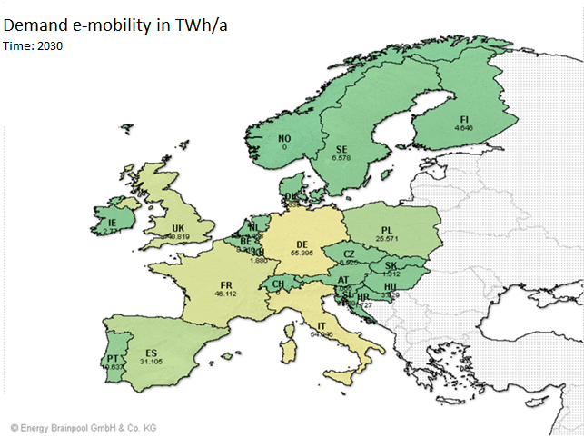 Additional demand for electricity during the ramp-up of e-mobility in European countries (source: Energy Brainpool)