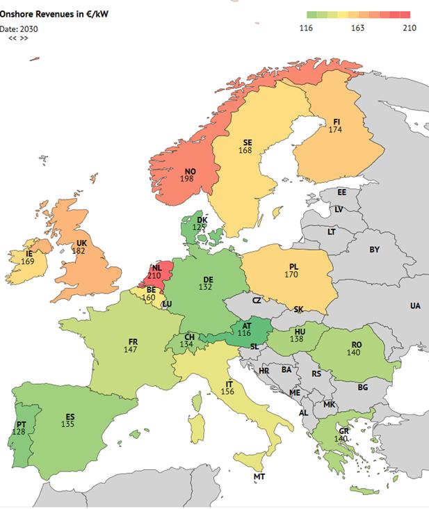 Leistungsspezifische Erlöse Onshore im Jahr 2030 in EUR2017/kW ausgewählter EU-Staaten, Quelle: Energy Brainpool