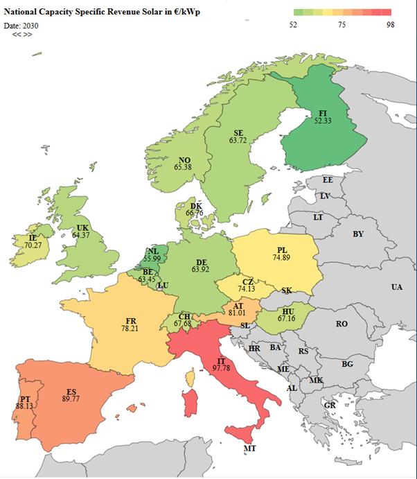 leistungsspezifische Erlöse Solar im Jahr 2030 in EUR2017/kWp ausgewählter EU-Staaten