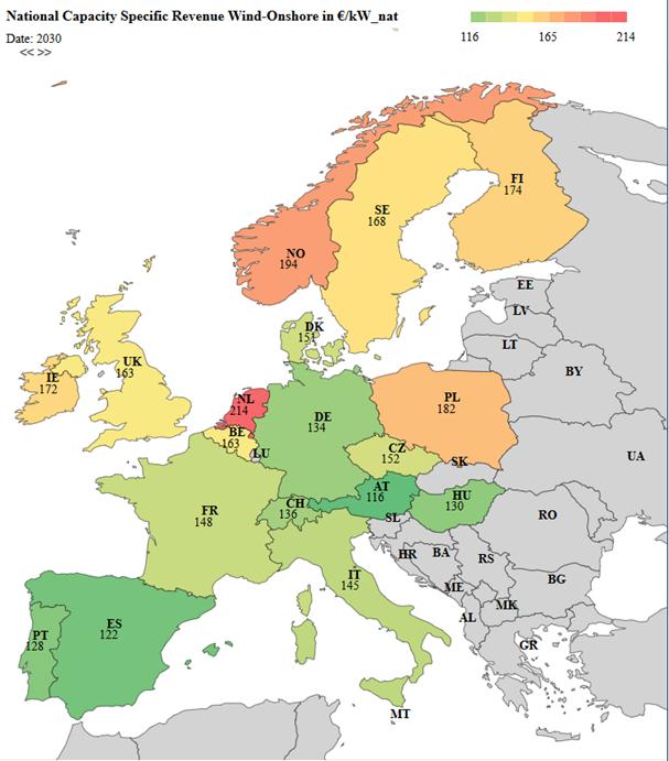 leistungsspezifische Erlöse Onshore im Jahr 2030 in EUR2017/kW ausgewählter EU-Staaten