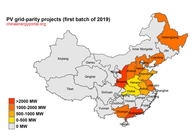 PV grid-parity projects according to planned capacity per Chinese province