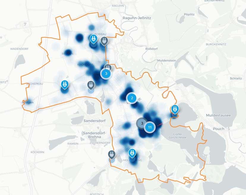 example of demand-oriented calculation with 20 charging locations - e-mobility