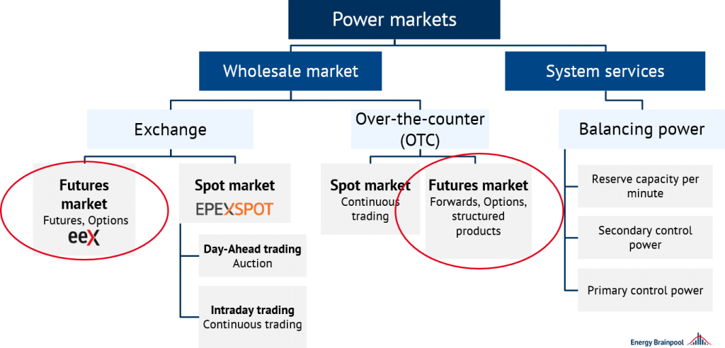 overview of the electricity markets and classification of the derivatives market, Energy Brainpool, futures market price