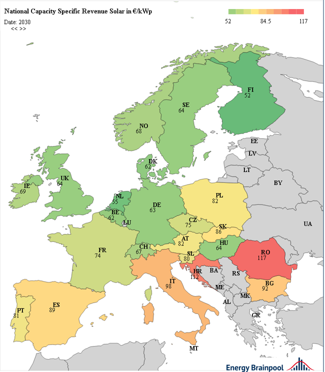 leistungsspezifische Erlöse Solar im Jahr 2030 in EUR2017/kWp ausgewählter EU-Staaten, Energy Brainpool, EU