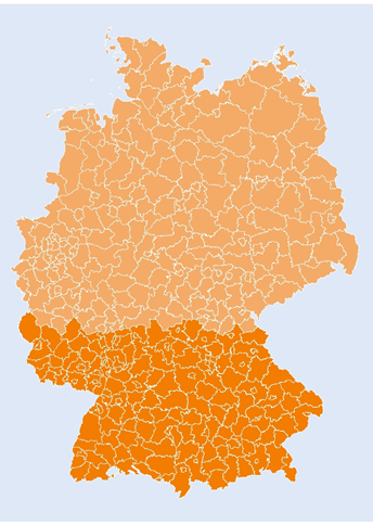 County division of Germany (southern area in darker orange) Energy Brainpool
