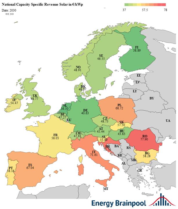 leistungsspezifische Erlöse Solar im Jahr 2030 in EUR2019/kWp ausgewählter EU-Staaten, Quelle: Energy Brainpool