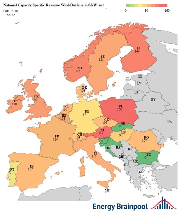 leistungsspezifische Erlöse Wind Onshore im Jahr 2030 in EUR2019/kW ausgewählter EU-Staaten, Quelle: Energy Brainpool