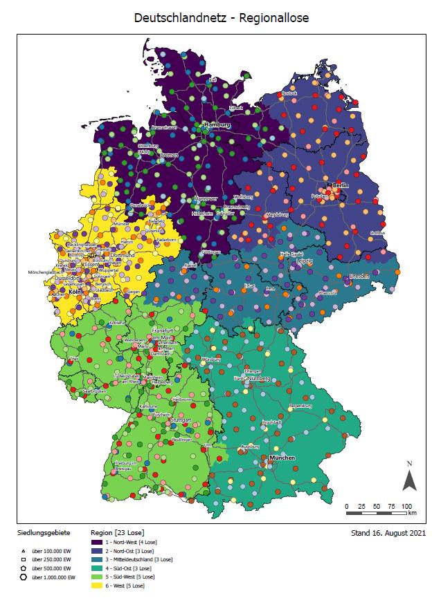 Deutschlandnetz mit den Regionen, Losen und Suchräumen (Quelle: Nationale Leitstelle Ladeinfrastruktur).